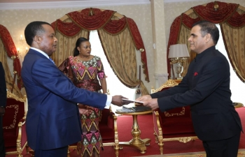 Ambassador G.R.Meena presenting  credentials to Hon'ble President of Republic of Congo, Mr. Denis Sassou N'Guesso, on  December 21,2019
