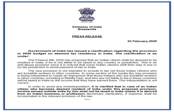 Government of India has issued a clarification regarding the provision in 2020 budget on deemed tax residency in India.